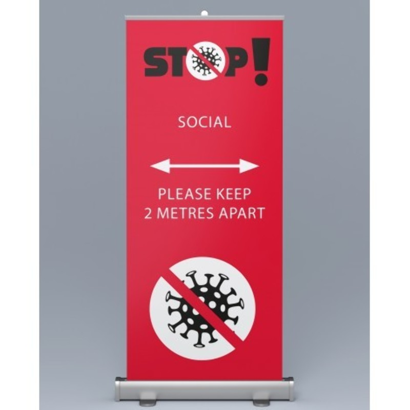 Social Distancing Pull Up Roller Banners